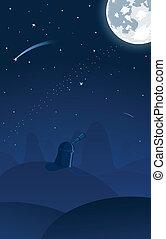 osservatorio, illustrazione, vettore