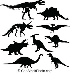 osso, dinosauro, silhouette, scheletro