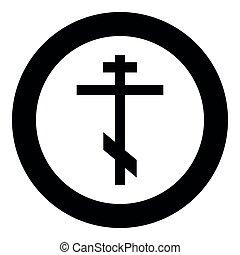 otto-indicato, ortodosso, immagine colore, greek-catholic, illustrazione, croce, semplice, vettore, nero, icona
