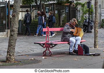 ottobre, 2016:, anziano, francia, non identificato, montmartr, zona, abesse, parigi, metro, gioco, -, 1, stazione, musicista, fisarmonica