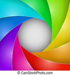 otturatore, foto, astratto, colorito, apertura