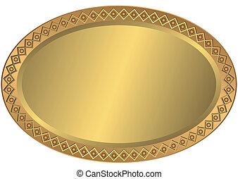 ovale, dorato, metallo, bronzo, piastra