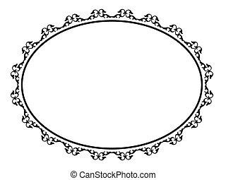 ovale, ornamentale, decorativo, cornice