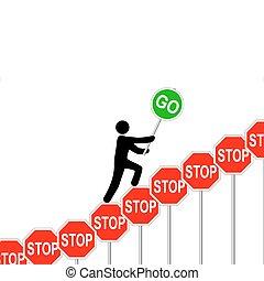overcomes, fermi segnale, persona, aumenti, segni, andare