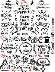 overlays, vettore, set, matrimonio