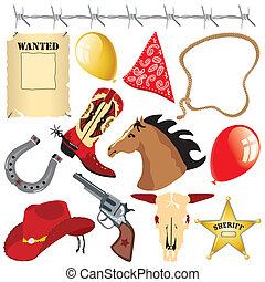 ovest selvaggio, compleanno, clipart, cowboy