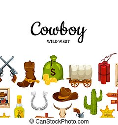ovest, vettore, posto, fondo, testo, selvatico, cartone animato