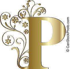 p, lettera, oro, capitale