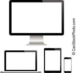 p, monitor, moderno, computer, laptop
