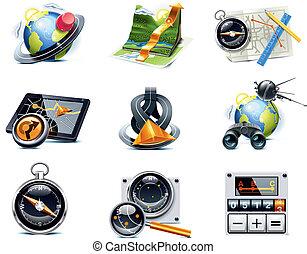 p.1, vettore, navigazione, icons., gps
