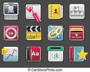 p.4g, universale, vettore, quadrato, icons.