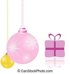 pacchetti, vettore, albero, decorazioni natale