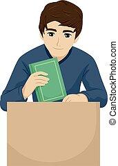 pacco, adolescente, illustrazione, università, scatola, tipo, libro
