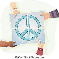 pace, giovane, mani