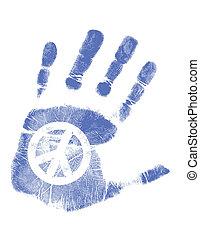 pace, /, mano, vettore, stampa, segno