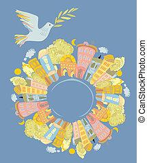 pace mondo, colomba, sopra