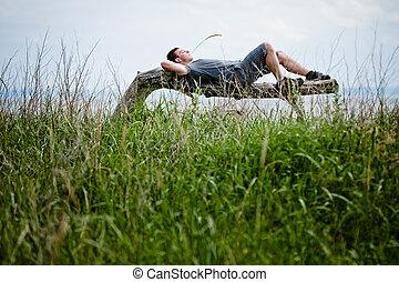 pacificamente, adulto, giovane, rilassante, natura