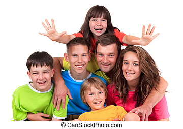 padre, cinque, bambini