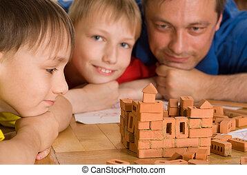 padre, gioco, bambini