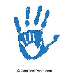 padre, handprints, figlio