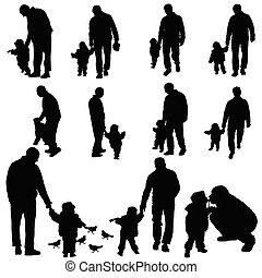 padre, illustrazione, bambino
