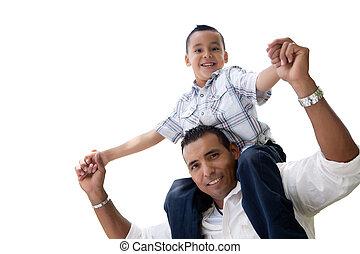 padre, isolato, figlio, ispanico, divertimento, bianco, detenere