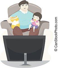 padre, orologio, illustrazione, ragazza, patatine fritte, mangiare, capretto