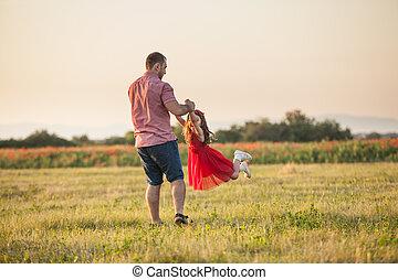 padre, suo, figlia, felice
