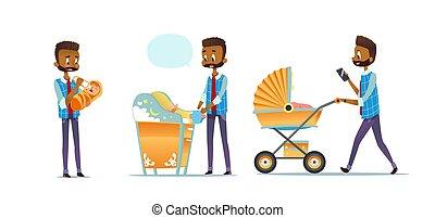 padre, super, bianco, bambino, pannolino, vettore, isolato, africano-americano, portante, babbo, fatherhood., cura, cartone animato, appartamento, uomo, moderno, stroller., illustration., fondo., mutevole, presa, bambino, set, alimentazione