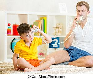padre, telefono, stagno, chiamata, lattine, bambino, detenere
