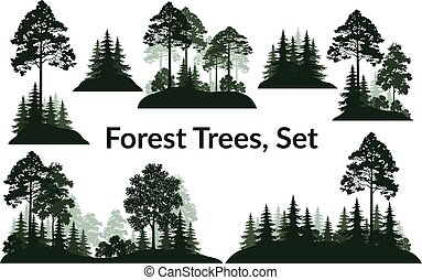 paesaggi, albero, silhouette