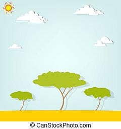 paesaggio, albero, africano