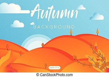 paesaggio, autunno, appartamento, fondo