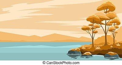 paesaggio autunno, lago
