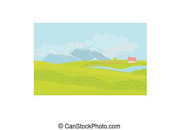paesaggio, bello, montagne