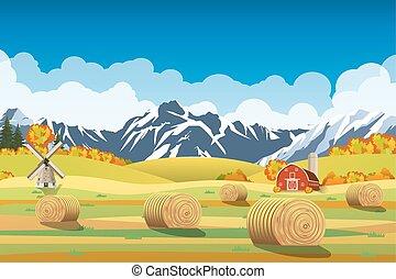 paesaggio, fields., campagna, mucchi fieno