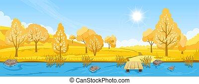 paesaggio fiume, autunno