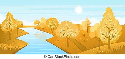 paesaggio, fiume, autunno