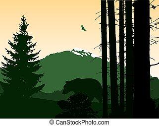paesaggio., fondo, montagna