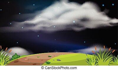 paesaggio, fondo, notte, disegno, collina