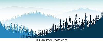 paesaggio., foschia, crepuscolo, distante, colline, valle, foresta, albero, nebbia, montagne, abete, montagna