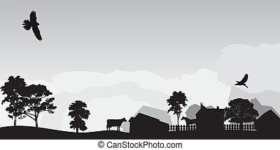 paesaggio, grigio, albero, villaggio