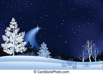 paesaggio, inverno, illustrazione