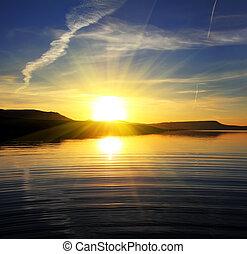 paesaggio, lago, alba, mattina