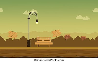 paesaggio, lampada, strada, giardino, fondo