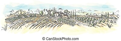 paesaggio, mano, vettore, rurale, wtercolor, plant., disegnato, illustrazione