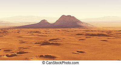 paesaggio, mars., asteroide, rimbalzo, impatto, centrale, cratere, picco, indietro, mezzo