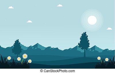 paesaggio montagna, fondo, primavera