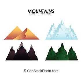 paesaggio, montagne, disegno