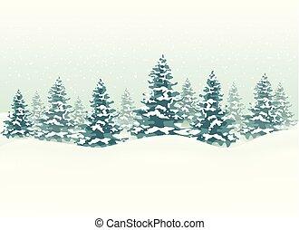 paesaggio, natale, fondo, inverno